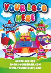 Template for leaflet, poster. Bouncy castle theme. theme.