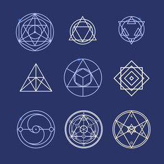 Alchemy Geometry Symbol Thin Line Set. Vector