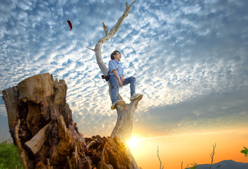 woman climbing a dead tree with camera looking ato head to see best top point for photography at sunset scenery in background