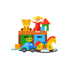 Playroom with toys vector icon