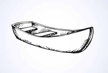 Wooden boat. Vector drawing
