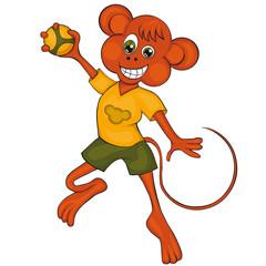 Monkey plays handball. Cartoon style. Clip art for children.