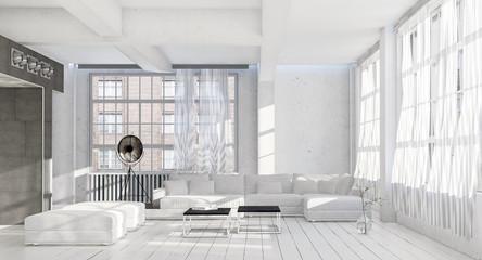Bright airy monochromatic white living room