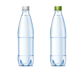 Blank plastic bottles of 0.5 liter with drinking water