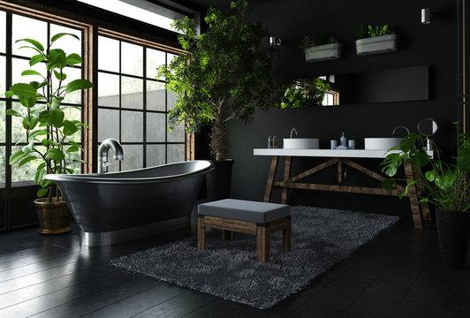 Interior of fancy bathroom in black color