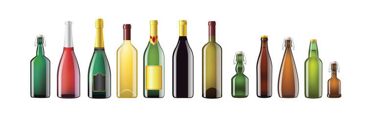Alcohol Bottles - realistic vector set of objects