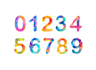 Collection of digits. Geometric numbers. Vector triangular figures