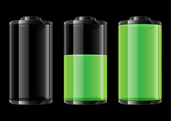 Green battery vector illustration on black background