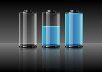 Blue battery vector illustration on gradient grey background