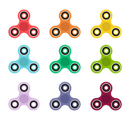 Fidget spinner icon colors collection. Fidget spinner isolated. Hand spinner. Vector stock.