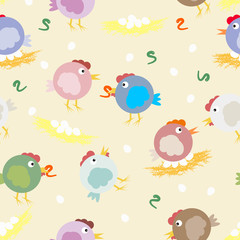 Multicolored chicks, worms and egg nests. Funny original vector pattern for your design.