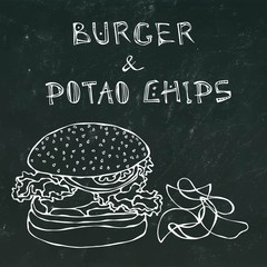 Big Hamburger or Cheeseburger, Beer Mug or Pint and Potato Chips. Burger Logo. Isolated on a Black Chalkboard Background. Realistic Doodle Cartoon Style Hand Drawn Sketch Vector Illustration.