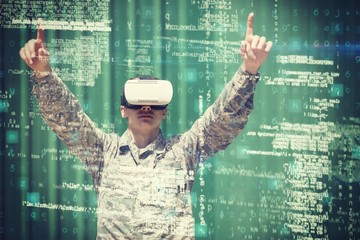 Military soldier using virtual reality 3d headset