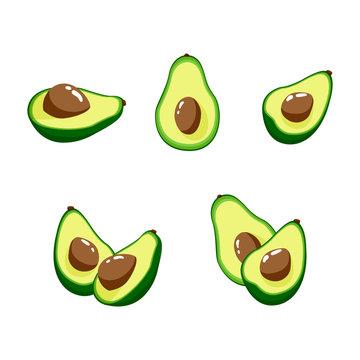 Set of avocados. Vector design elements.
