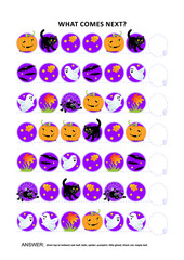 Halloween themed educational logic game training sequential pattern recognition skills: What comes next in the sequence? Answer included.