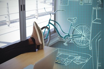 Composite 3d image of illustration of desk at creative office