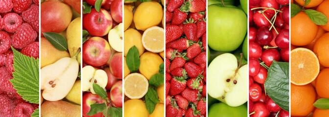 Wall Mural - Früchte Frucht Obst Hintergrund Sammlung Orange Äpfel Zitrone Apfel