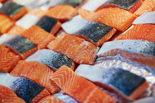 Salmon on farmer market in Paris, France