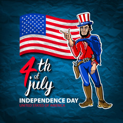 Fourth of July USA Independence Day greeting card. 4 th of July. United States of America celebration wallpaper. national holiday US flag card design. men