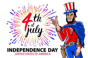 illustration of a men celebrating Independence Day Vector Poster. 4th of July Lettering. American Red on Blue Background with Stars burst. firework