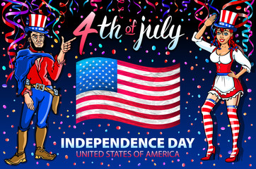 illustration of a girl and men celebrating Independence Day Vector Poster. 4th of July Lettering. American Red Flag on Blue Background with confetti art