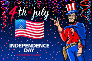 Fourth of July USA Independence Day greeting card. 4 th of July. United States of America celebration wallpaper. national holiday US flag card design confetti. men