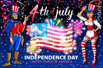 illustration of a girl and men celebrating Independence Day Vector Poster. 4th of July Lettering. American Red Flag on Blue Background with Stars burst. firework