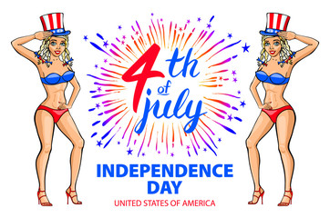 illustration of a girl celebrating Independence Day Vector Poster. 4th of July Lettering. American Red on Blue Background with Stars burst. firework