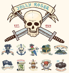 set of engraved, hand drawn, old, labels or badges for corsairs, skull at anchor, treasures, flag , Caribbean parrot. Jolly roger. Pirates marine and nautical or sea, ocean emblem.