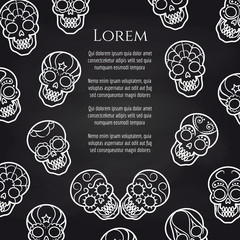 Sugar mexican skull chalkboard background poster. Vector illustration