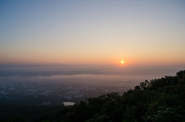 Sunrise at view point chiang mai thailand