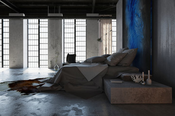 Concept of loft interior design bedroom