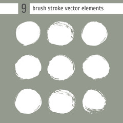 Collection of hand drawn brush and ink background circle with nature texture.