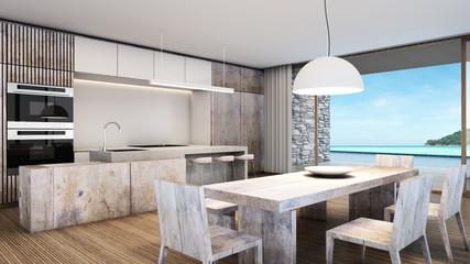 Dining kitchen beach villa background take view sea -3D render