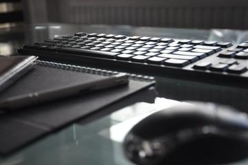 work desk with keyboard