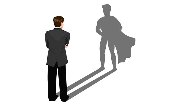 Geschäftsmann sieht seinen eigenenen Schatten als Superheld
