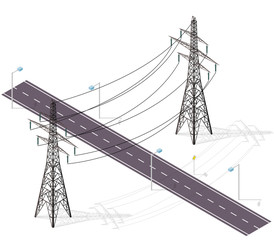 Road for cars crossed by high voltage lines, street lamps. Infrastructure intersecting. Vector high voltage pylon on white isolated background in isometric perspective. Industrial metal pole voltage.