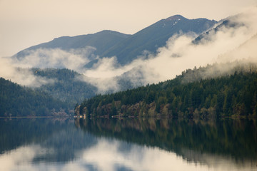 Foto op Canvas Natuur Park Misty Morning at Lake Crescent at Olympic National Park