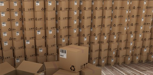 Composite image of stack of cardboard boxes