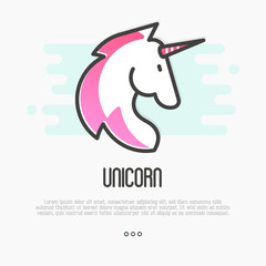 Head silhouette of unicorn with pink mane. Thin line vector illustration for logo or tattoo