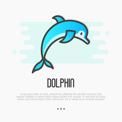 Dolphin jumping above waves in thin line style for spa, sport, travel logos. Vector illustration.