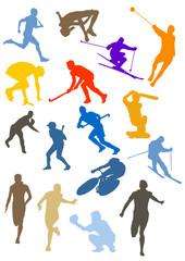 Silhouette - couleur - sport - ski - vélo - course