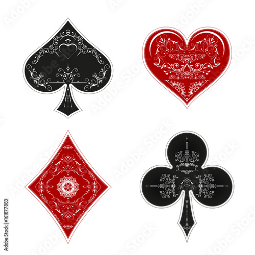 A Set Of Symbols Of A Deck Of Cards For Playing Poker And A Casino
