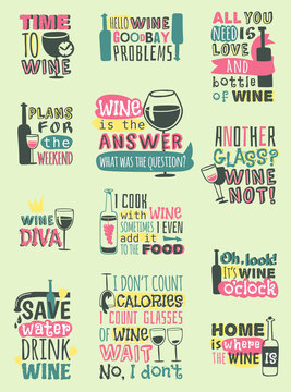 Love wine drink quote motivation phrases hand drawn logo badge.