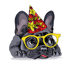 French bulldog Portrait in a Party hat with a glasses. Vector illustration.