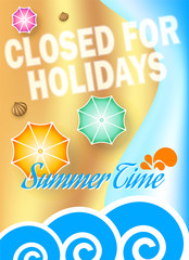 Closed for holidays poster on beach background, vector illustration