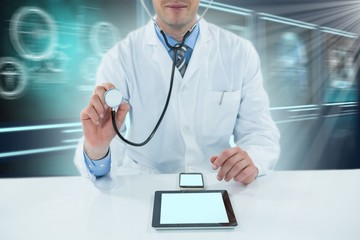 Composite 3d image of doctor examining with stethoscope