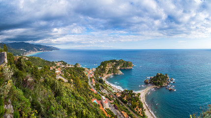 Taormina, Sicily - Beautiful landscape view of Mazzaro and Isola Bella Sicilian island of the mediterranean with beach and turquoise sea water