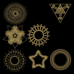geometry abstract elements vector isolated on black background
