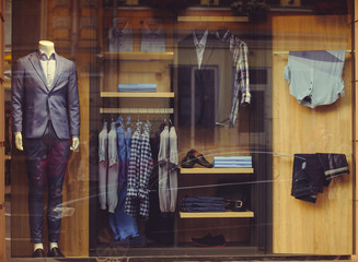 Shop window with men's clothing